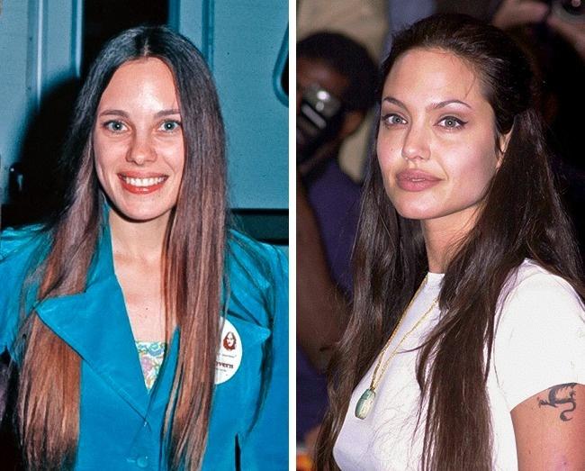 Marcheline Bertrand (22évesen) és Angelina Jolie (26 évesen)