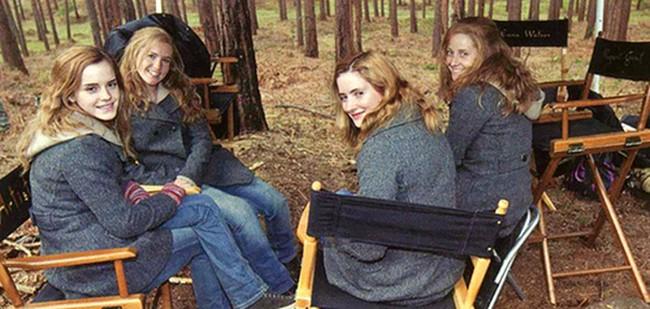 Emma Watson dublőrei társaságában a Harry Potter forgatásán.